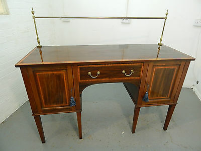 antique,edwardian,mahogany,sideboard,cupboard,cabinet,drawers,inlaid,brass rail