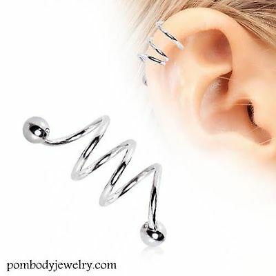 087935999737c 16G SURGICAL STEEL TRIPLE Spiral Twister Barbell Helix Cartilage Earring w/  Ball