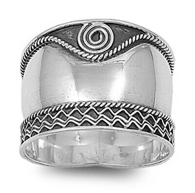 Sterling Silver Women's Bali Rope Swirl Ring Wide 925 Oxidized Band Sizes 5-12