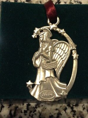 NIB 1998 Longaberger Pewter Angel Hope Ornament