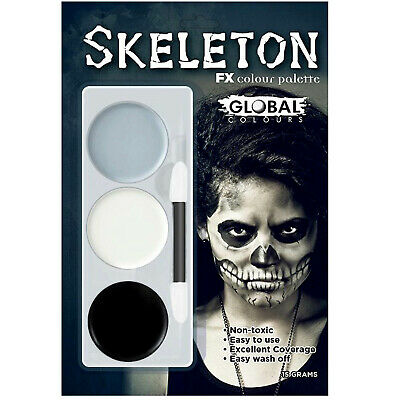 Skeleton Makeup Palette Facepaint Halloween Costume Tri-Colour White Black Grey