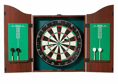 New Pub Style Dartboard in Wooden Cabinet Score Board Game Darts Gift Christmas