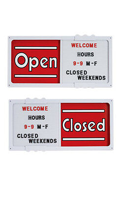 """Plastic Red Horizontal Sliding Open/Closed Sign Board 20""""W x 10""""H x ¾"""" Thick"""