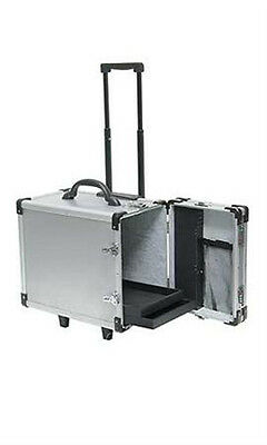 """New Aluminum Rolling 12 Tray Jewelry Cases - 16 3/""""L x 9 3/8""""W x 13 1/2""""H"""