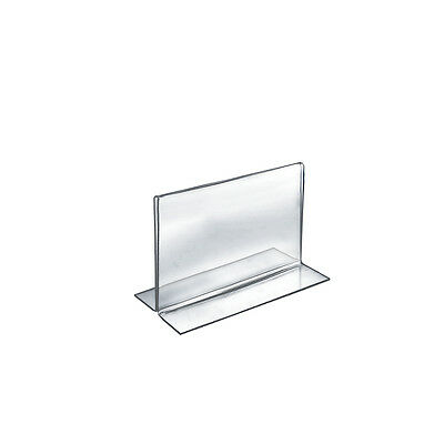 """Count of 10 Clear 2-Sided Double-Foot Acrylic Horizontal Sign Holder 7""""W x 5.5""""H"""