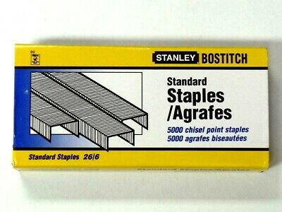 Stanley Bostitch 26/6 Staples chisel point box of 5000 no.56 staple staples