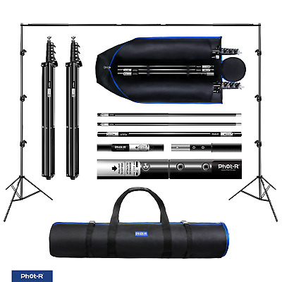 Phot-R 2 x 3m Photo Studio Background Backdrop Support System Set Stand Crossbar