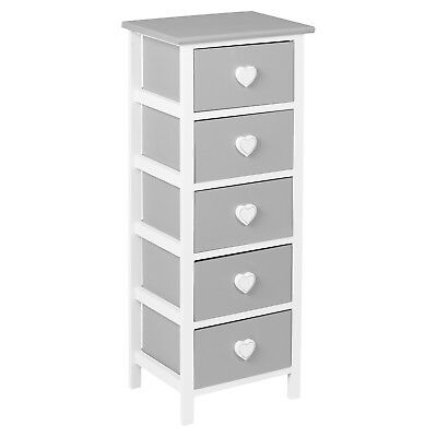 Hartleys White & Grey 5 Drawer Heart Storage Unit/chest Of Drawers/girls Bedroom