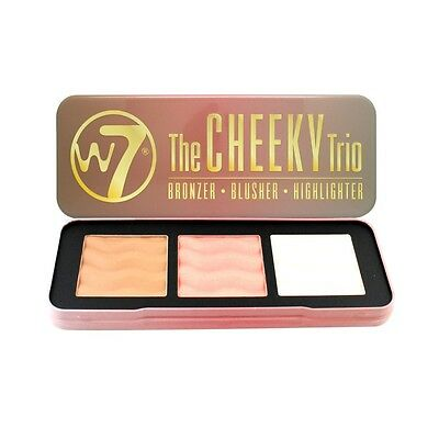 W7 The Cheeky Trio Bronzer, Blusher & Highlighter Palette Contour Kit