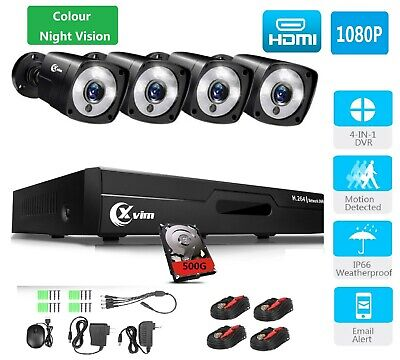 XVIM 4CH 720P DVR CCTV Kits 1500TVL Outdoor Security Cameras System IR Night 1TB
