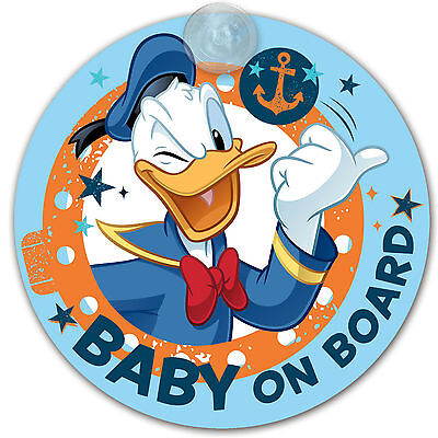 Disney DONALD DUCK Autoschild 'BABY ON BOARD' mit Saugnapf # NEU
