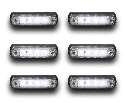 6X 12/24V 4 Smd Led White Side Marker Indicator Lights Lamps Truck Lorry Trailer