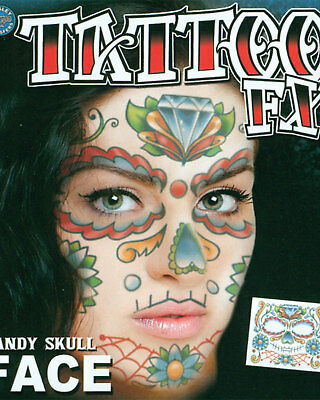 Morris Costumes Temporary Face Tattoo Realistic Candy Skull. DFFC501