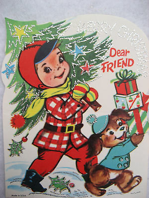 Vintage Lustre Brite Kid's Glittery Christmas Ornament Cards Lot of 8 *NEW NOS*