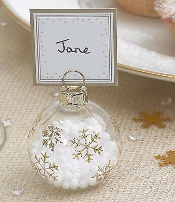 Gold Theme Glass Bauble Place Card Holders - Christmas Table/Winter Wedding