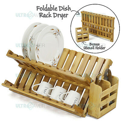 Foldable Bamboo Dish Drying Rack Plate Cup Drainer + Detachable Utensil Holder