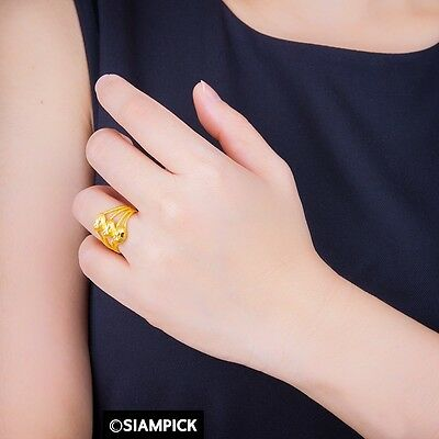 22K 24K Thai Gold Plated Stacked Plain Love Heart Bridesmaid Women Jewelry R035