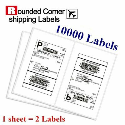 10000 Half Sheet Shipping Labels 8.5x5.5 Round Corner Self Adhesive for USPS UPS