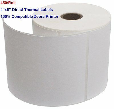 """2-20 Rolls 450/Roll Direct Thermal Labels 4""""x6"""" For Zebra Printer Free Shipping"""