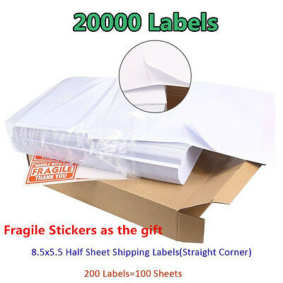 20000 Self Adhesive 2/Sheet Shipping Labels 8.5x5.5 Half Sheet For USPS