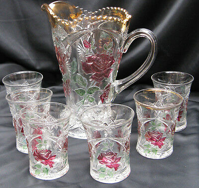 1909 Antique Pressed Glass American Beauty Rose & Starbursts 7 Piece Water Set