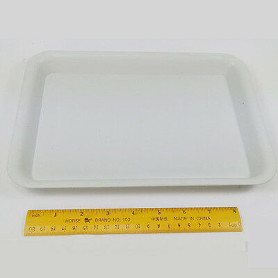 CHCP12 1pc WHITE PLASTIC TRAY FOR BEADS COLOR GEMSTONES SMALL OPEN TRAY RECTANGL