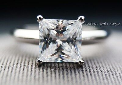 Wedding 1.76 CTW Princess cut Engagement Ring 14KT Solid White Gold new