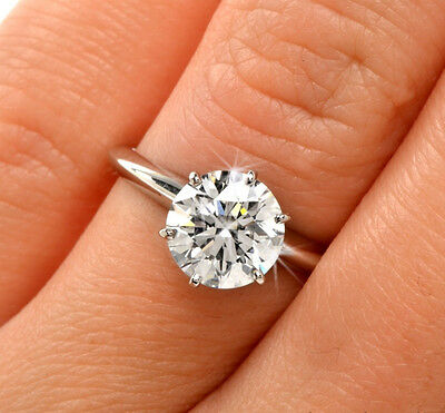White Gold 2.0ct Real Round Cut Solitaire Engagement Anniversary Ring Solid 14K