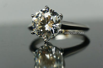 Solitaire Engagement Ring Round Cut 14K Gold White Real Solid 4.00 CT Promise