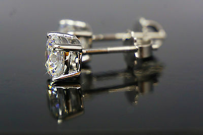 Studs Earrings VVS1 D Round Cut White Real 14k Gold 2.05 CT Simulated Diamonds