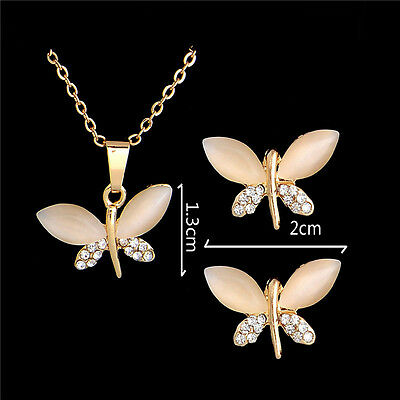 Fashion Women Jewelry Set Gold Plated Rhinestone Crystal Necklace Earrings
