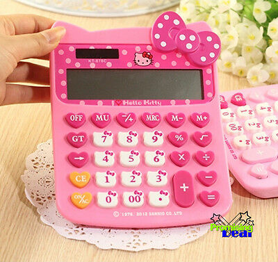 New Cute For Hello Kitty Pink Basic Electronic Digitals Calculator