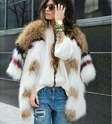 151155 Real Knitted Raccoon Fur Coat Womens Korean Fashion Style Winter Jacket