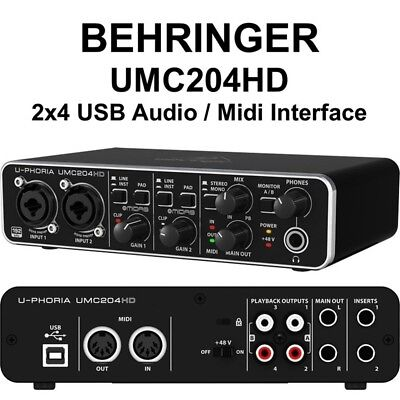 BEHRINGER U-PHORIA UMC204HD interfaccia audio 2x4 MIDI USB midas phantom 48w