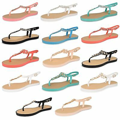 Womens Ladies Diamante Jelly Sandals Summer Beach Toe Post Ankle Strap Shoes New