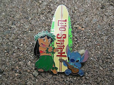 DISNEYLANDLILO AND STITCH WITH A SURFBOARD PIN. THE BACK OF THE PIN IS SILVER