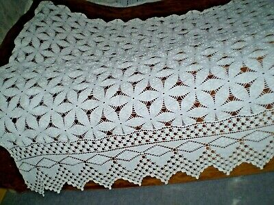 Vintage Hand-Knitted Cotton Crochet Lace White Square Bedspread Coverlet