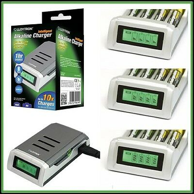 4 Battery Batteries Charger Intelligent Alkaline LCD AA/AAA N--Mh Ni-Cd UK Plug