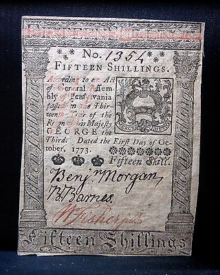 Colonial Currency ✪ Pennsylvania October 1St 1773 ✪ Fr Pa-168 15S Unc ◢Trusted◣
