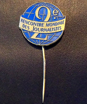 France 2° Meets World Of Journalists Press Antique Lapel Pin Badge