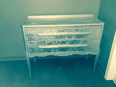 Antique 1942 Mahogany Buffet with silver leaf paint