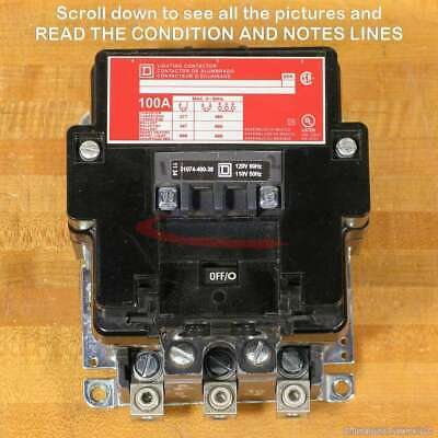 Square D 8903SQO2V02 Contactor, 3 Pole, 100 Amp, 120 VAC Coil, Used