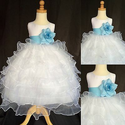 White Organza Ruffle Dress Baby Blue Flower Girl Pastel Wedding Holiday#14
