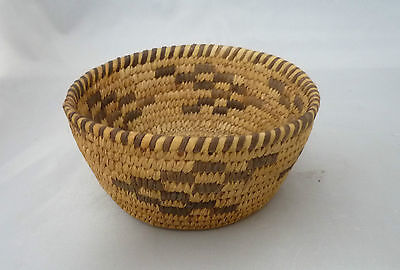"Native American Weave Basket PIMA BOWL Very Nice Design. Approx 2.5"" T x 5"" W"