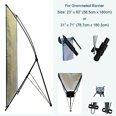 "Banner Stand Adjustable Height for Grommeted Signs in 2 Sizes 23""x63"" or 31""x71"""