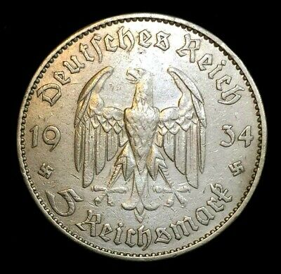 German wwII 5 Reichsmark Genuine SILVER Coin with Potsdam Chruch