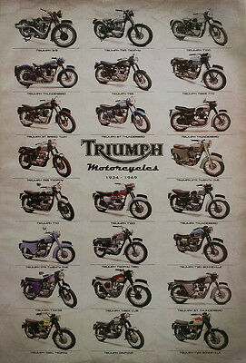"""TRIUMPH MOTORCYCLES 1934-69 POSTER 23""""x34"""" BRITISH MOTORBIKES 23 Classic Models"""
