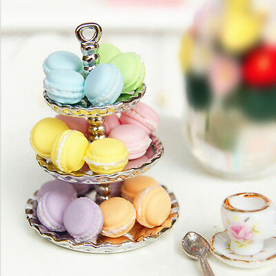 1pc Random Dollhouse Miniature Food Dessert  Snack French Macaron 1:12 Scale