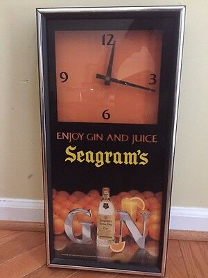 Vintage Seagram's Enjoy Gin And Juice Sign Advertisement Clock Battery Quartz