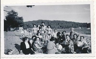 Large group of women and men in swimsuit on the beach -* 1951 vintage photo